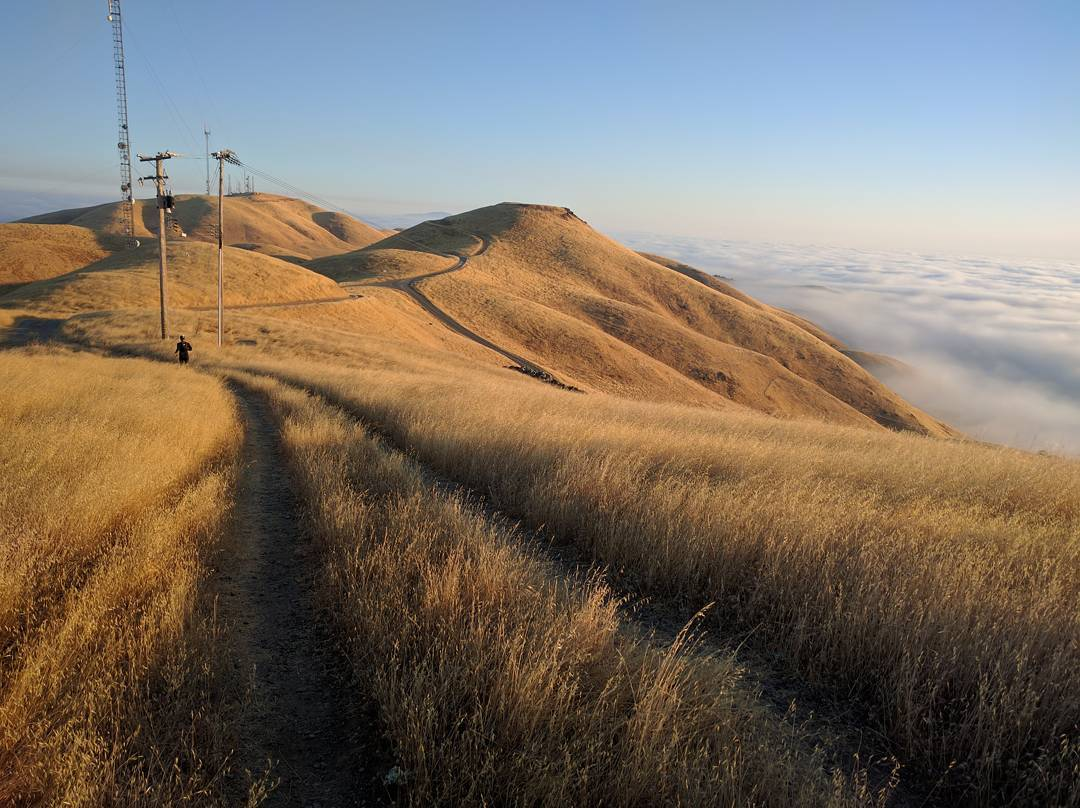 "Leaving Monument Peak and heading for --> ""Mt EMS"" --> then Mt Allison --> Mission Peak. Squint, and look at nine o'clock to find @bhasin and @marckrejci. Such good stuff! #latergram #runwolfpack #runSJ #runlocal #teamrunthebay #seenonmyrun #nofilternecessary"