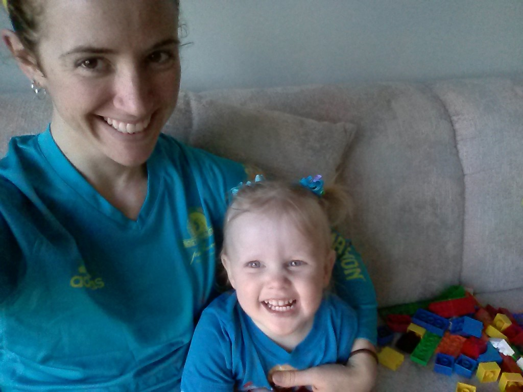 A and me in our Boston blue for #chicagolovesboston and #bostonstrong