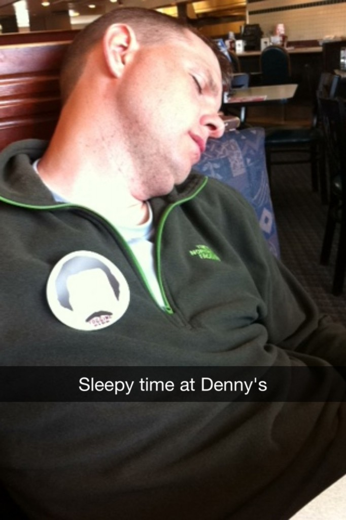 Poor Justin. At a Denny's in Gurnee between legs 3 & 4, I think