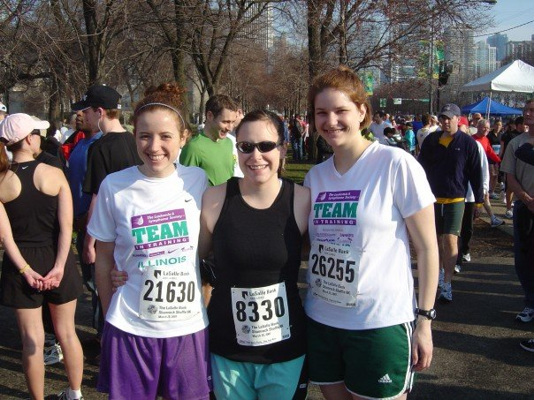 with Sarah (center) and Traci (right) at the Shamrock Shuffle 8k in 2007, my first race. Throwback to my fundraising for the Leukemia and Lymphoma Society: http://www.active.com/donations/fundraise_public.cfm?force_a2=yes&ckey=tntil&key=tntilEMink.