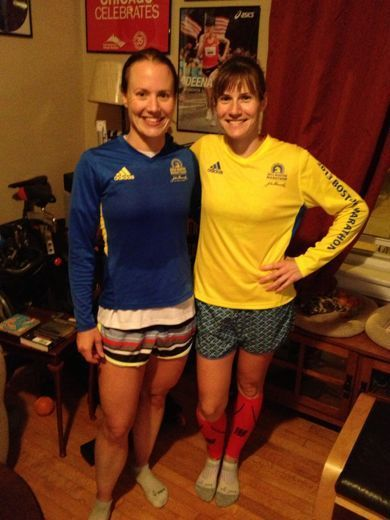 AB (in yellow) with Meredith. These women train so well together that they sub-consciously coordinate outfits.