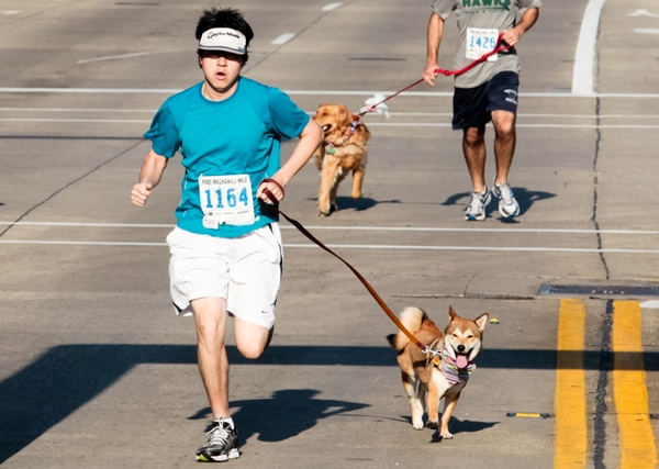 Not only is he fast, but he can also outrun his dog!