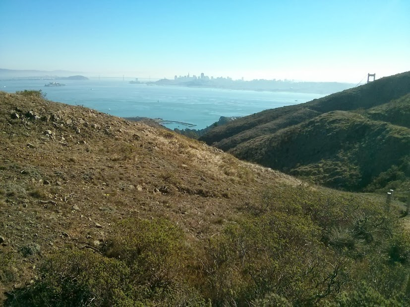 The GG Bridge is on the right, while downtown SF is in the center (look closely).