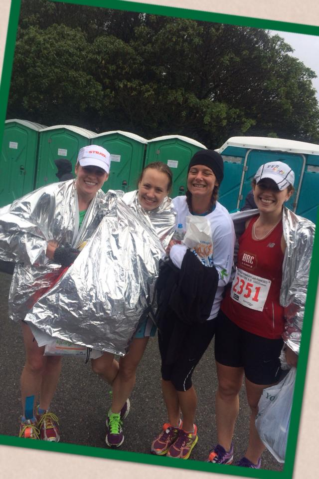 soaked and chilled post-race w Stone, Mere (spectator amazingness), and a sleeping Foxy... thanks for these pics, M!