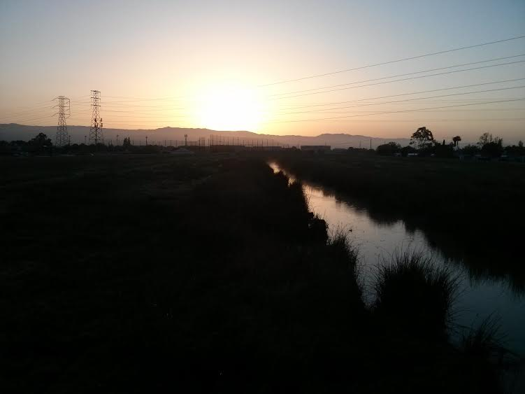 the sunrise, as seen from Alviso