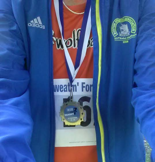 2nd woman OA, 1st AG, 8th OA, PR in a 10k-but-not-really-10k. These things happen when courses aren't certified. No matter, though -- still was a super fun morning and a way to get in on the Boston buzz from afar :)  and, duh, to support a worthwhile cause and beneficiary.