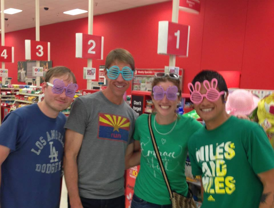 and we also had to go to Target for a productive hour of shopping for relay essentials. Wes, Keith, me, and Chris. (source: an employee who probably felt bad for us weirdos)