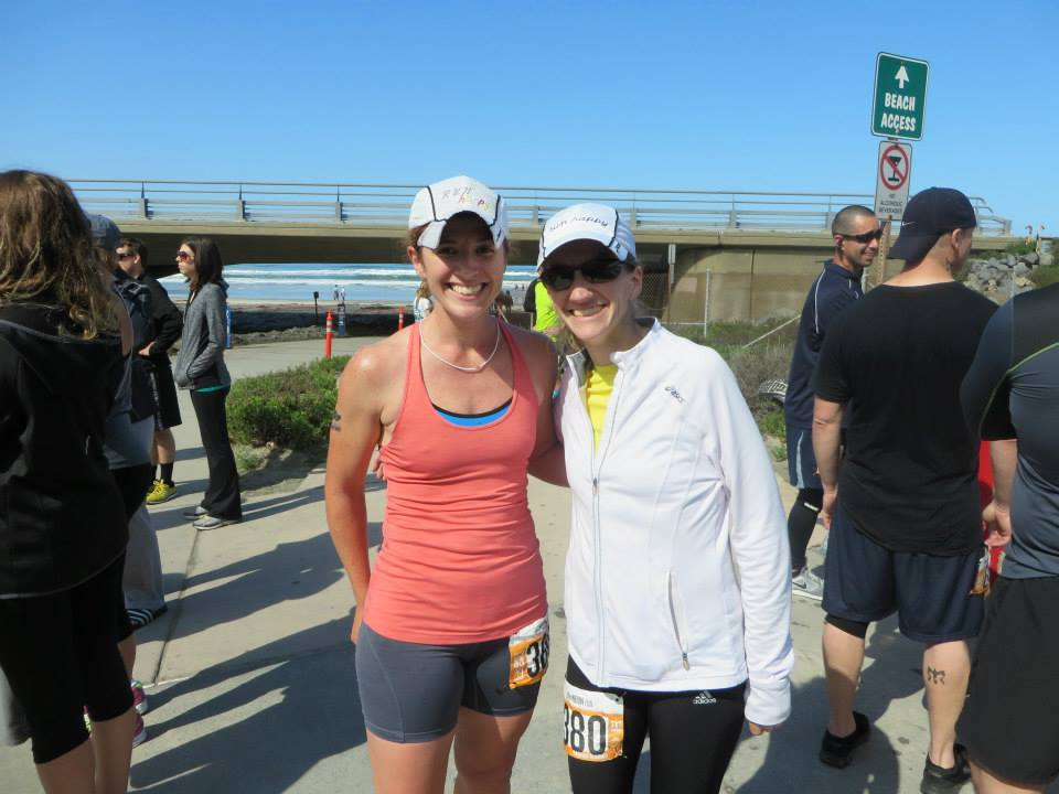 with Kristina, post-third leg. Note our matching 'run happy' hats :)
