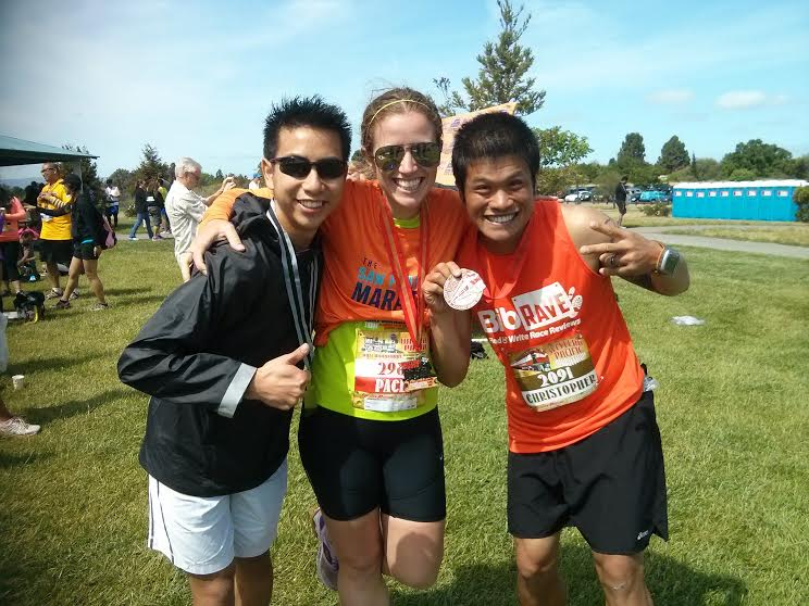 with Albert (left) and Chris post-Chris' marathon. Very fun to finally meet Albert, another TSFM ambassador and RA member, who had just crushed the AR50 miler in early April, and to celebrate Chris' marathon completion and OA/AG placement post-race. Clearly, we are all business.