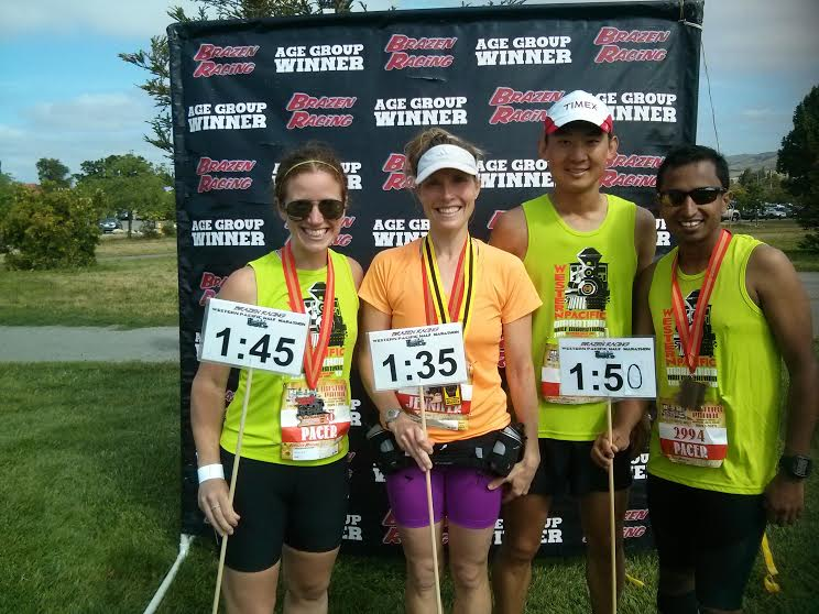 with Jennifer, who had run with Johnny (1:35) to a PR and a women's OA/AG finish, and Anil (1:50 for his first pacing gig), who had just run BSIM and massively PRed the week prior. Fun story about Jennifer: we raced against each other a few weeks prior at the non-10k and instantly recognized each other at WP. It's a very cool feeling to begin to recognize some familiar faces at races.
