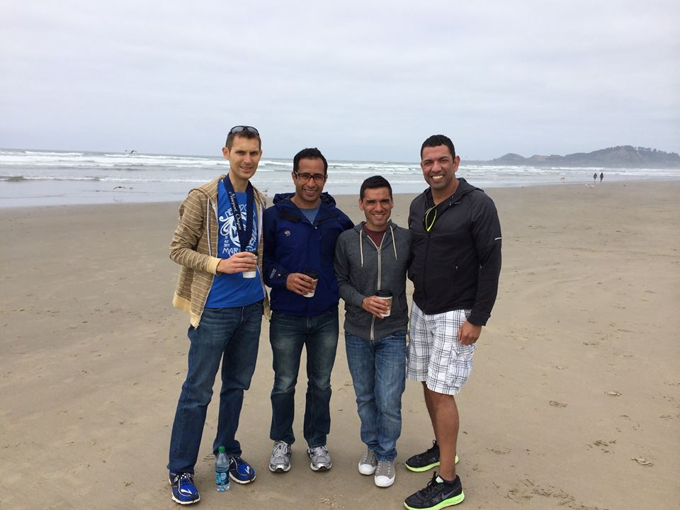 Housemates Austin, Richard, Daniel, and Flaco at the beach, pre-awards ceremony