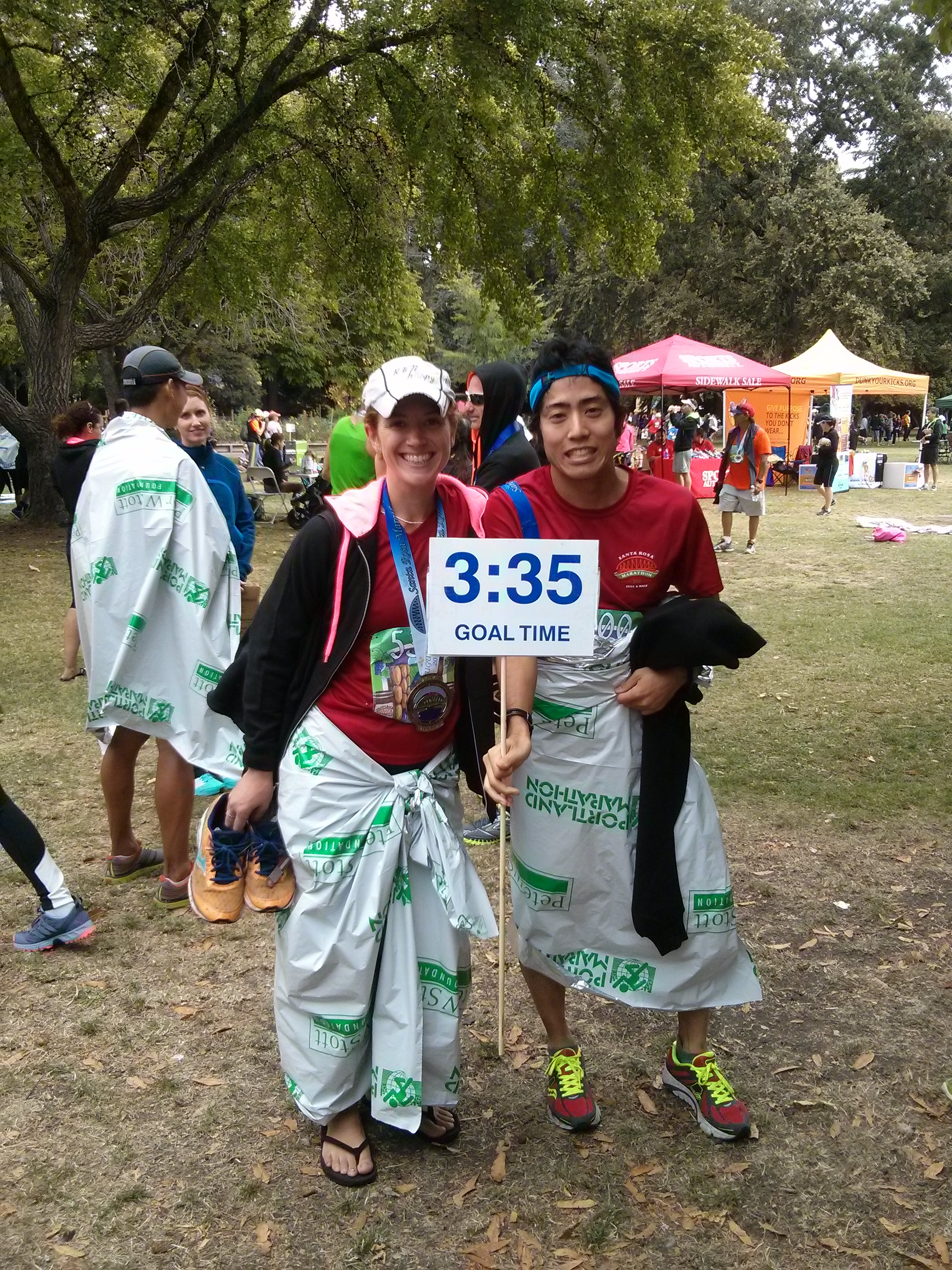 Team 3:35 FTW! (don't ask about the Portland Marathon space blankets; no one really knows...)