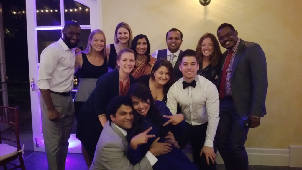 with a pile of more DePaul buddies + the bride and groom