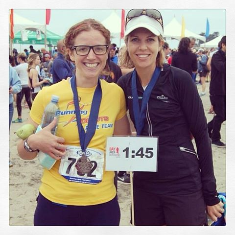 with Meg post-SC half, one of the many races this girl PR'ed in 2014. (that's the look of a PR smile if I've ever seen one!) [cred: Meg's friend]