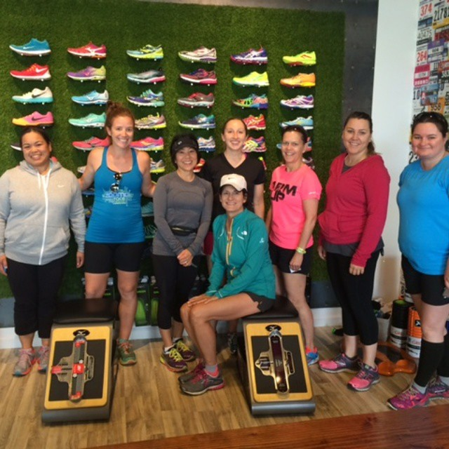 reppin' ZOOMA at A Runner's Mind in Burlingame a few weeks ago with Tricia (in the gray zip-up)