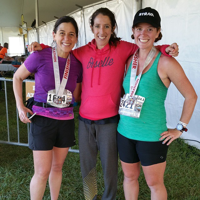 with Erica and also-pregnant pro runner Steph Bruce at the SLO Half in April at about 6 months (24 weeks) pregnant. I was blown away by how good I felt running 13.1 on a not-easy course this far along
