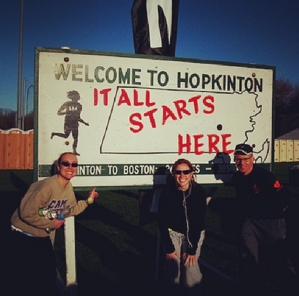 with John and Stacey in Hopkinton before the start of Boston '10