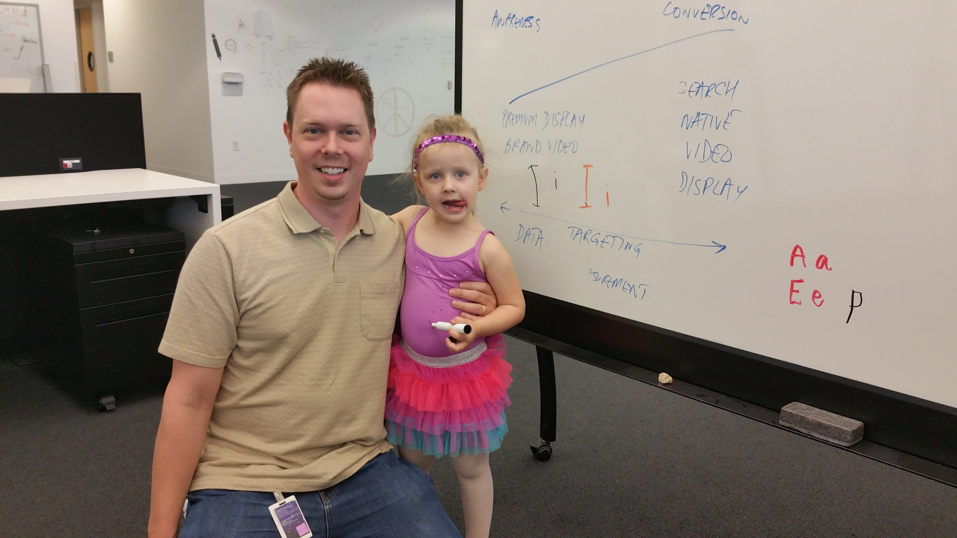take your kid to work day. she was the only mini software engineer in a tutu or leotard.