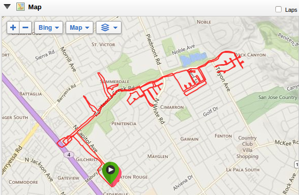 my map from my dozen run on Saturday -- I was always within about 2.5 miles of home!