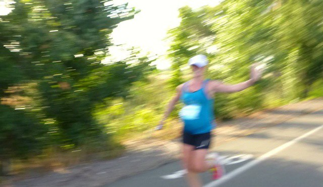 Day 22 (late!) of @rrsports' photo challenge: brag about a running accomplishment. Blurrily queen-waving to my pacing buddy Linh during Saturday's 13.1 in Napa at 31+ weeks pregnant. Fun race, good experience, happy to still be doing this stuff this late in the game! 8 more weeks ... #rrsphotocontest #rrsports #rrsphotochallenge #runwithrrs #runningwhilepregnant #thirdtrimester #letsgoHOKA #runwolfpack #ZOOMAnation #thisishowiZOOMA #tsfm2015 #PEM2016