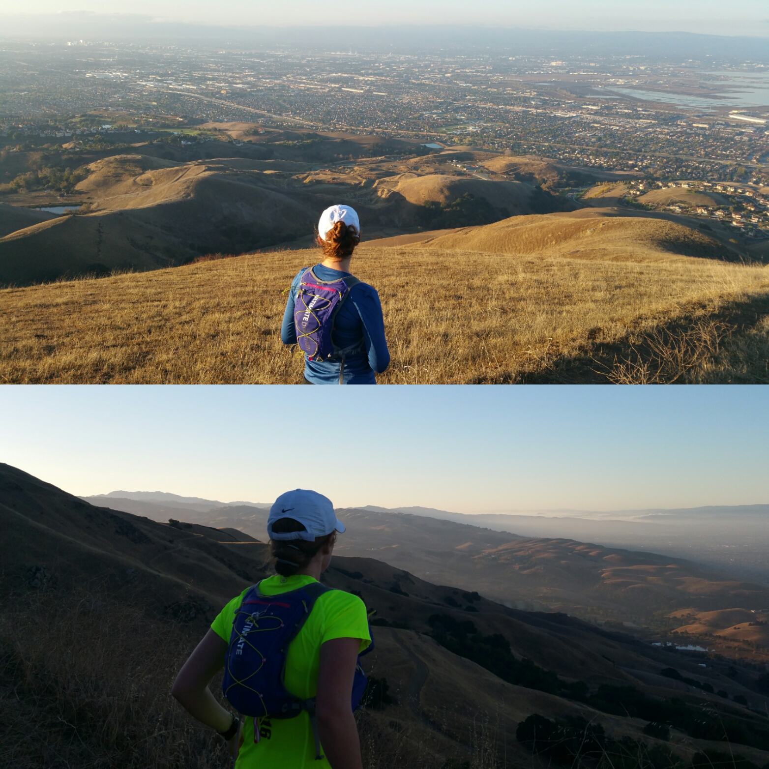 "probably the most challenging run I've done since living here is just down the street from me. top: Nov '14, about a month or so before I got pregnant (and was in the thick of 50k training); bottom: last weekend, 8 weeks postpartum. Here again, I could talk about how much ""better"" my body was in the top pic, or how much faster I was then, or whatever, buuuuuuuuut no fucks can be given. That my postpartum (x2 now) body can throw down a double-digit run and climb nearly 3,000' through what is practically Everest, as far as I'm concerned, is way more valuable to me these days. [PC: S]"