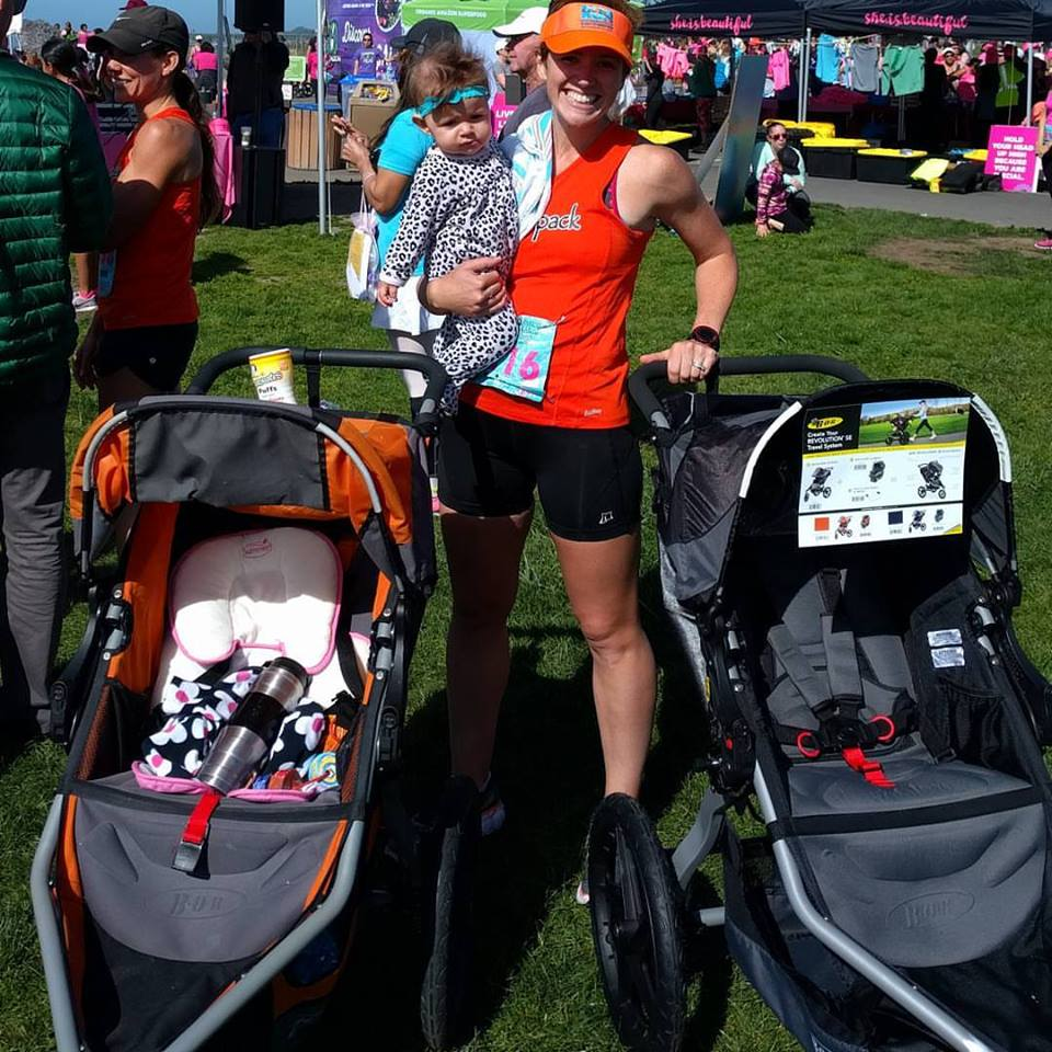 winning the baby mama 10k at she.is.beautiful with G (just shy of 8 mos.) and winning another running stroller - so fun