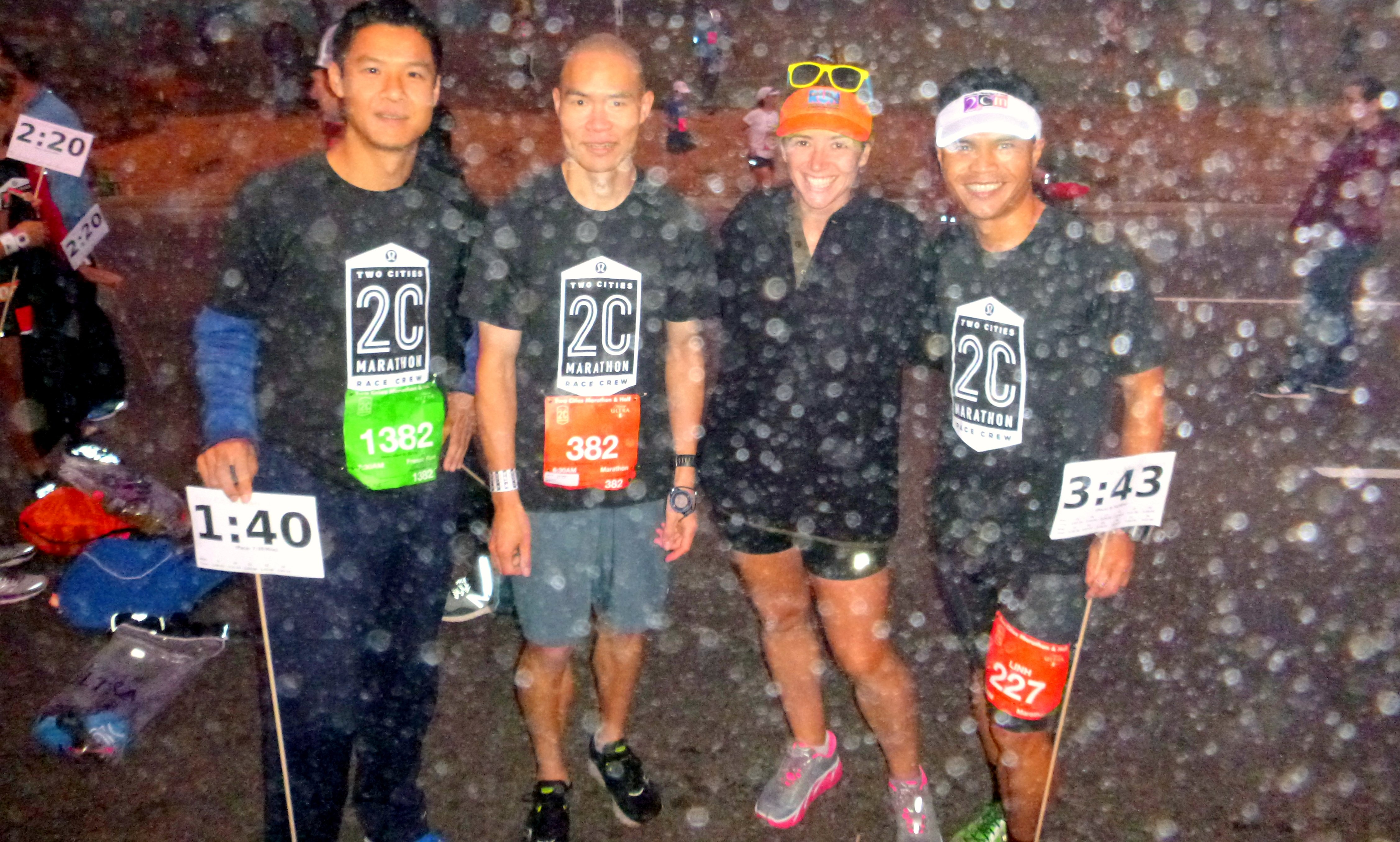 looks like snow but it's actually fairly thick fog. with pacing buddies Don (L of me) and Linh (R) and another friend whose name I didn't catch (sorry!) PC: Linh