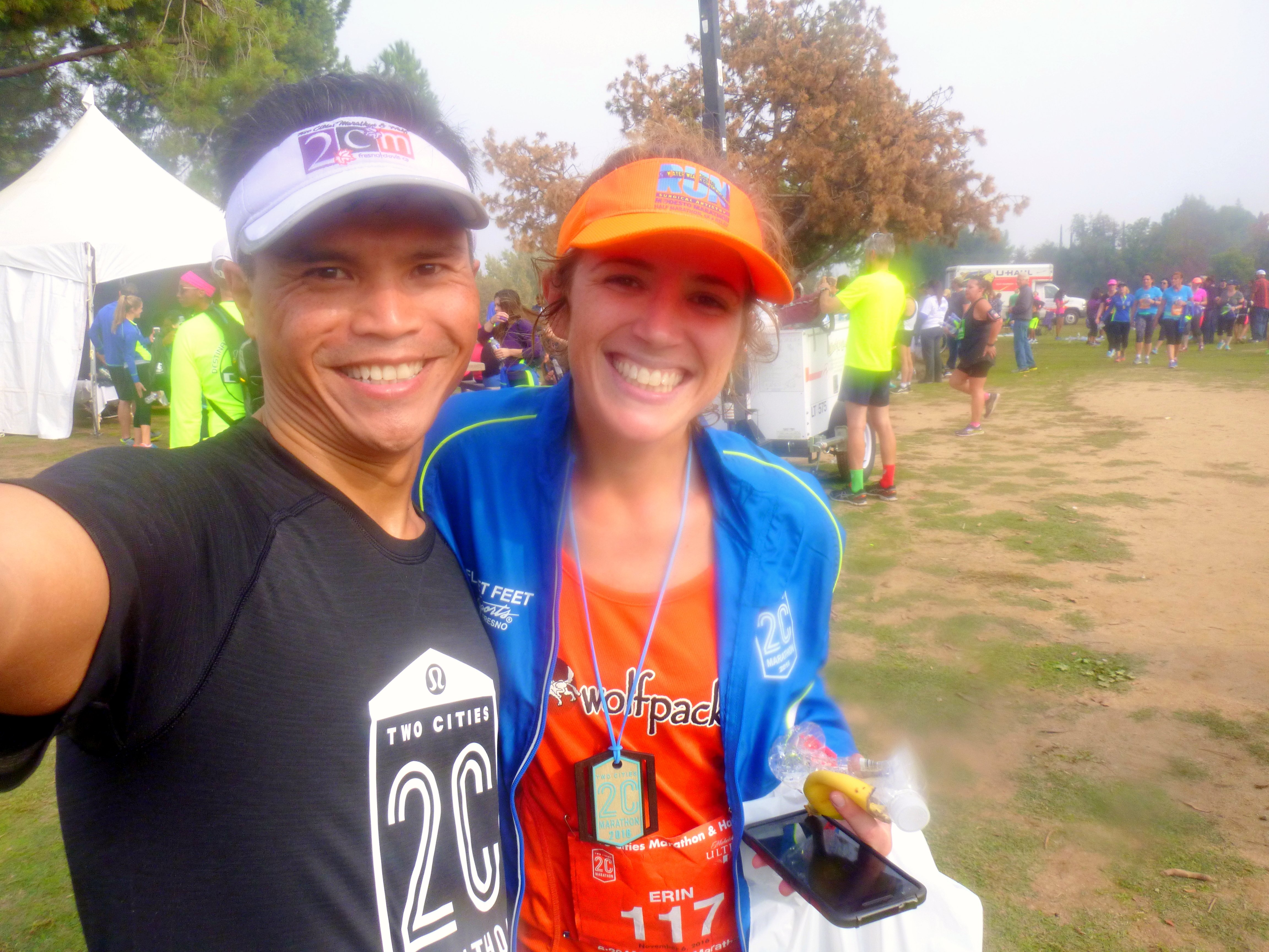 Linh and his wife, Amy, are awesome. He paced the 3:43 marathoners and she the 2:20 Clovis HMers. PC: Linh