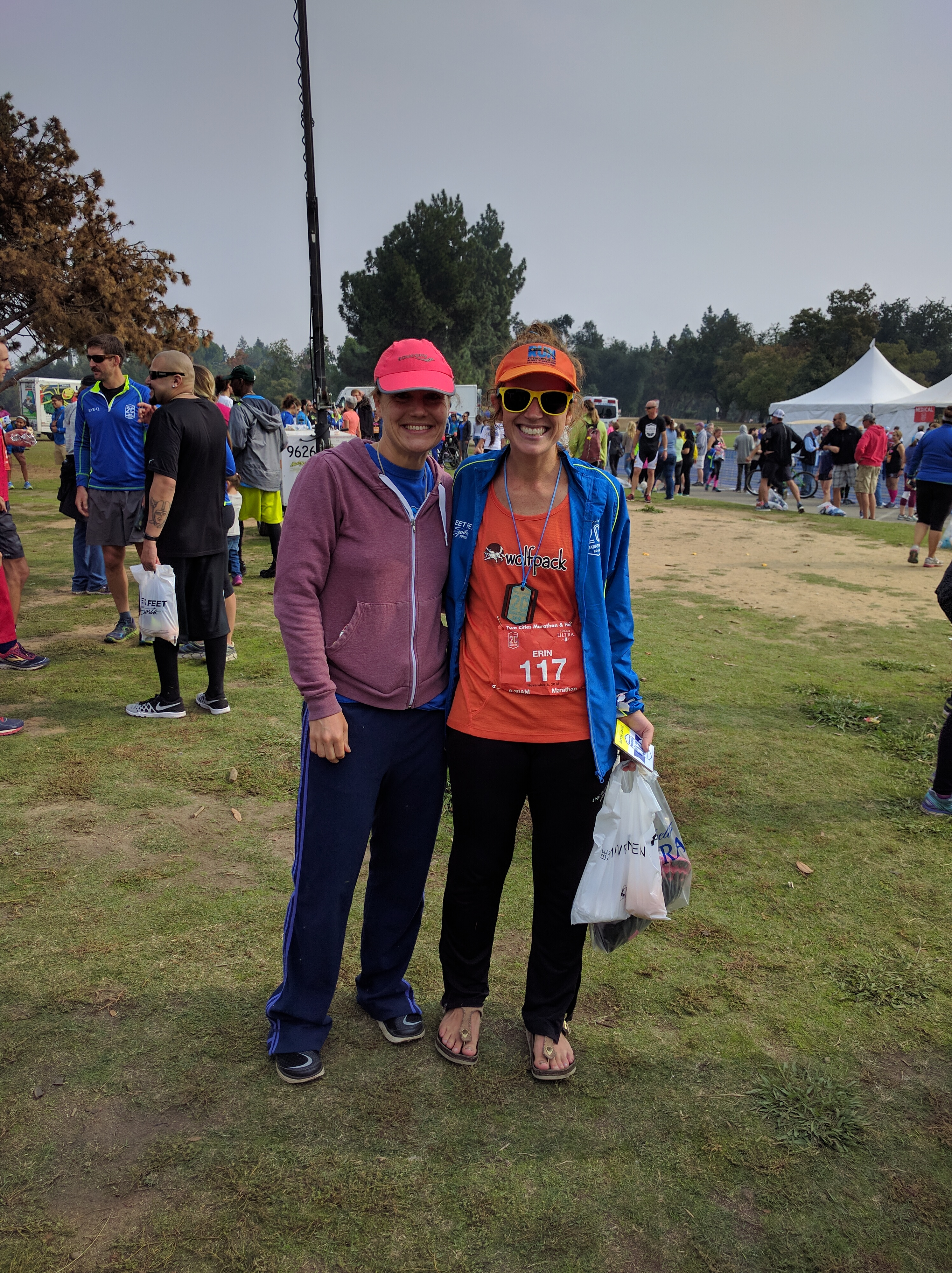 with Meredith, and I wasted no time in putting on comfy pants (my throwback ING NYCM pants!) and Birkenstocks (the jacket I'm wearing is the finisher's jacket for the marathoners)