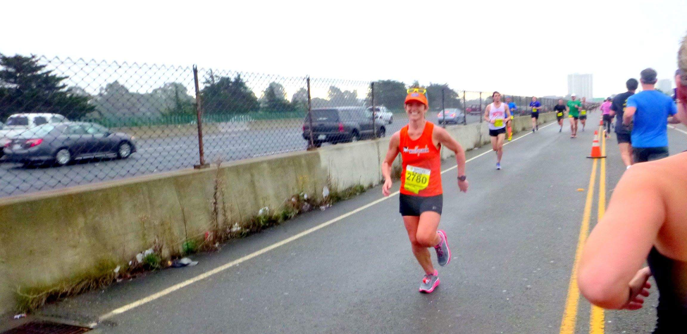 "on the ""back"" portion of the baytrail frontage road, saying hi to Linh, who was pacing 1:45 (PC: Linh)"